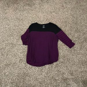Maurices Purple and Black Striped Baseball Top